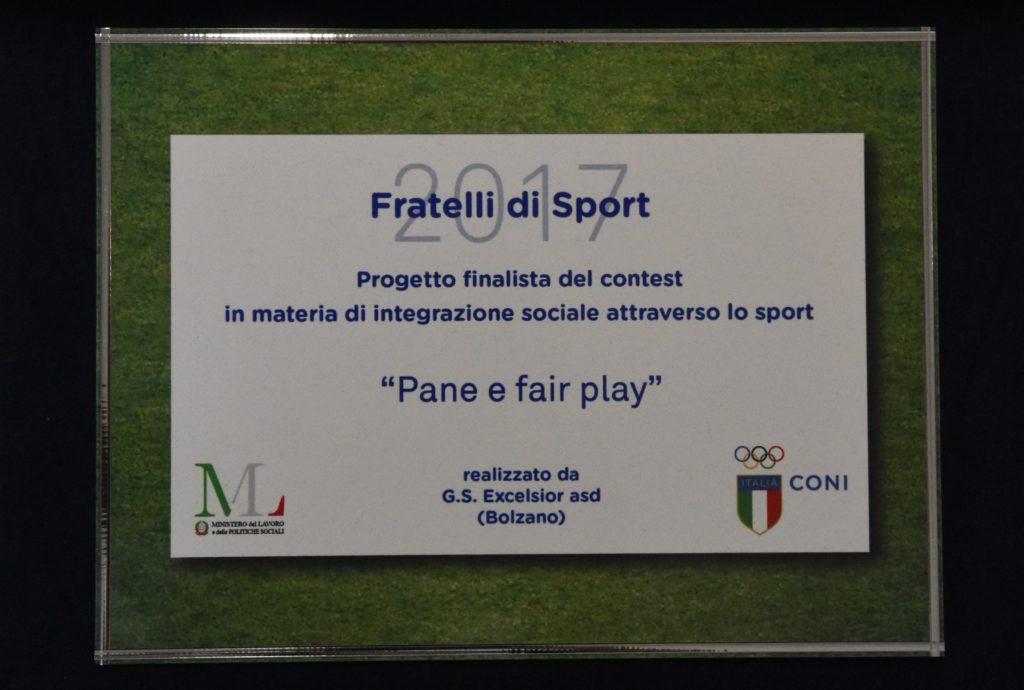 """Premio Coni """"Fratelli si sport"""" 2017"""